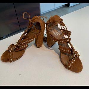 Aquazzura suede fringe sandal with gold studs